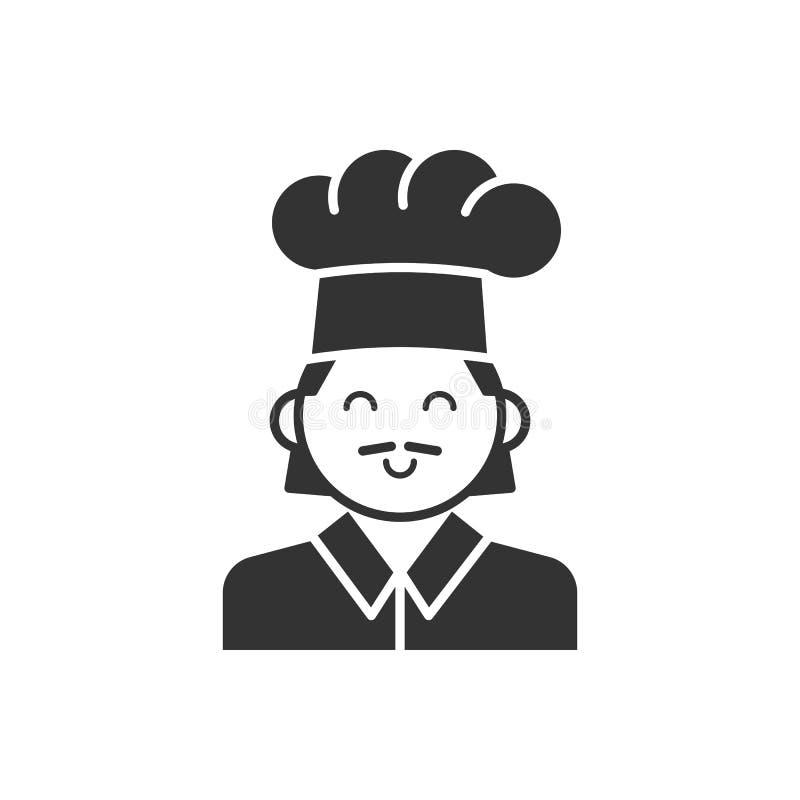 Czerni odosobnioną sylwetkę kucharz na białym tle Kreskowa ikona portret szef kuchni ilustracja wektor