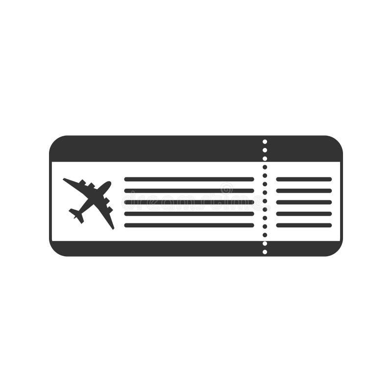Czerni odosobnionego bilet dla lota na białym tle Ikona bilet samolot ilustracja wektor