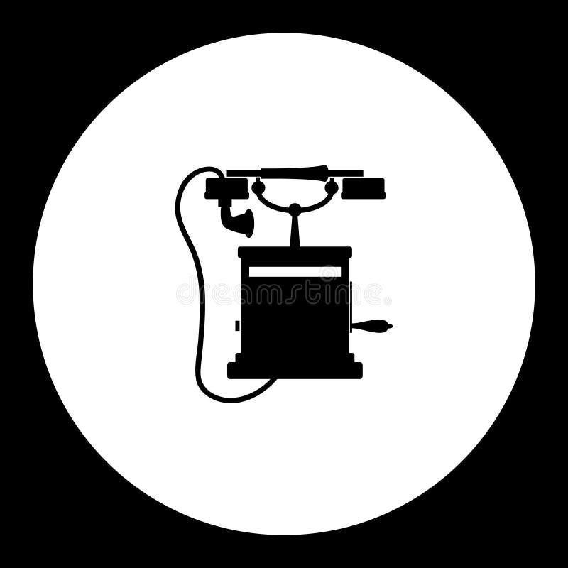 Czerni odosobnionego starego retro telefonicznego symbolu prostą ikonę eps10 royalty ilustracja