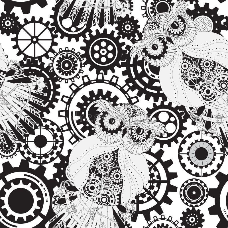 Czerni przekładnie, steampunk bezszwowy wzór Steampunk royalty ilustracja