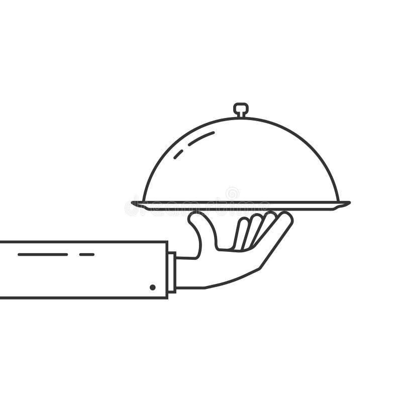 Czerni ręki mienia cienki kreskowy naczynie ilustracja wektor