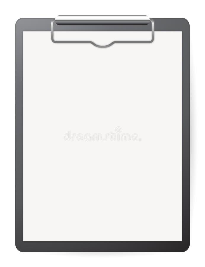 Czerni rejestr deskę z białym papierem ilustracja wektor