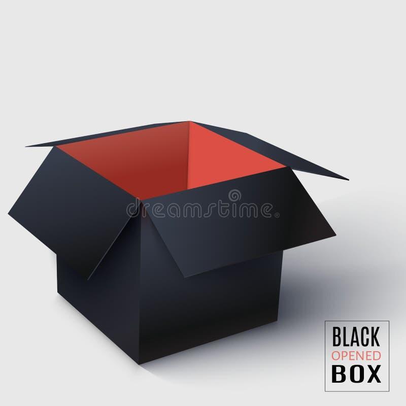 Czerni rozpieczętowany kwadratowy pudełko z czerwienią inside ilustracja wektor