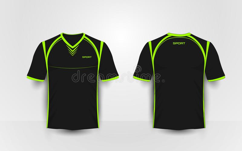 Czerni sportów futbolowych zestawy i zielenieje, bydło, koszulka projekta szablon royalty ilustracja