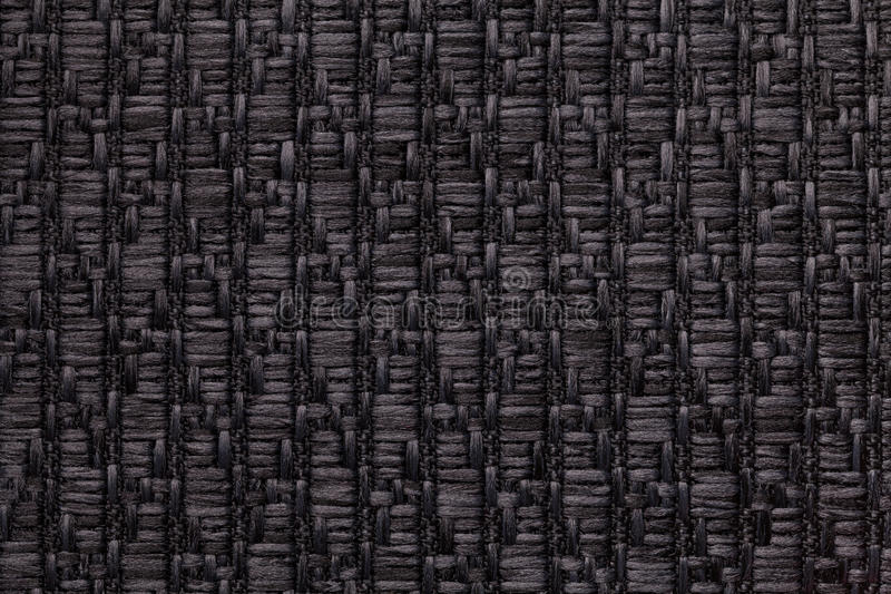 Czerni trykotowego woolen tło z wzorem miękka część, wełnisty płótno Tekstura tekstylny zbliżenie obraz stock