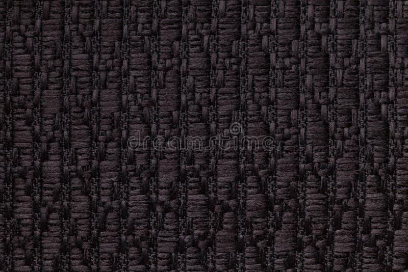 Czerni trykotowego woolen tło z wzorem miękka część, wełnisty płótno Tekstura tekstylny zbliżenie fotografia royalty free