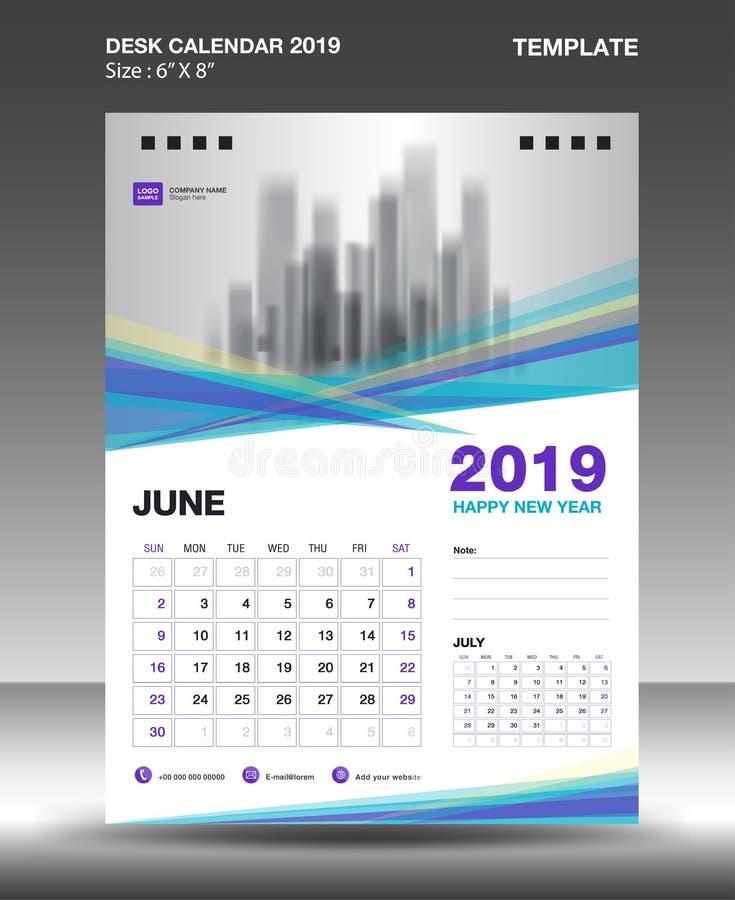Czerwa biurka kalendarza 2019 szablon, ulotka projekta wektor, Błękitny purpurowy pojęcie układ ilustracja wektor
