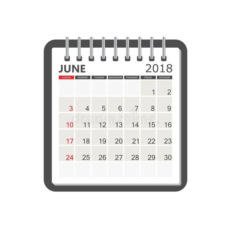 Czerwa 2018 kalendarz Kalendarzowy notatnik strony szablon Tygodni początki ilustracji