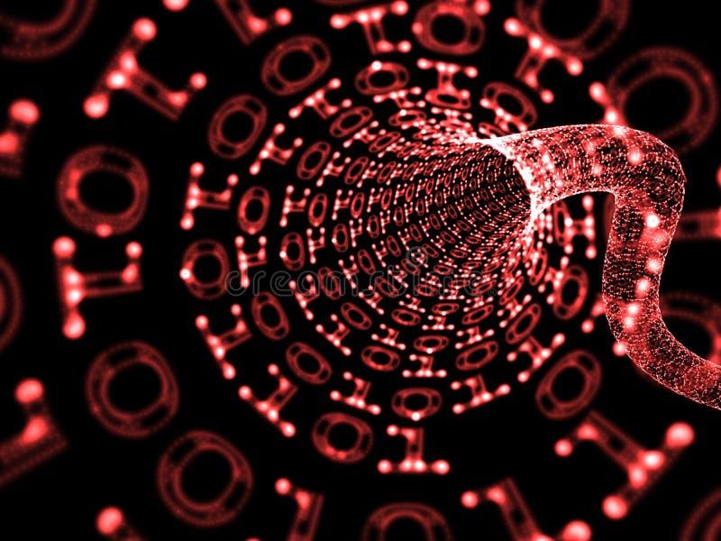 czerwień binarny tunel obraz stock