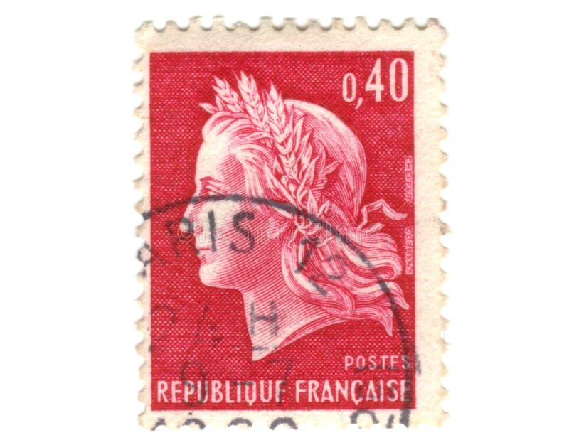 czerwień francuski stary znaczek zdjęcia royalty free