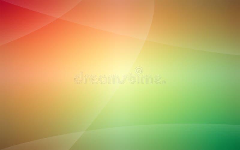 Czerwień zielenieć niezwykłego gładkiego tło z subtelnymi promieniami światło ilustracji