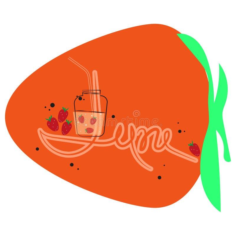 Czerwiec, płaska ilustracja na tle abstrakcjonistyczna wielka truskawka Lato koktajl w szkle, koktajl tubka, truskawki ilustracja wektor