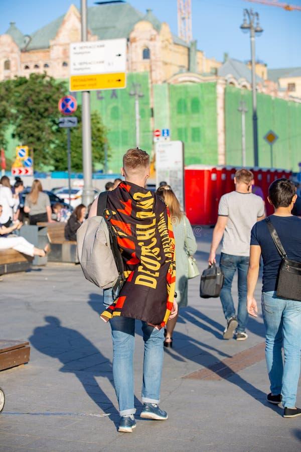 Czerwiec 16, 2018 Puchar Świata 2018, fan piłki nożnej na ulicach M obrazy stock