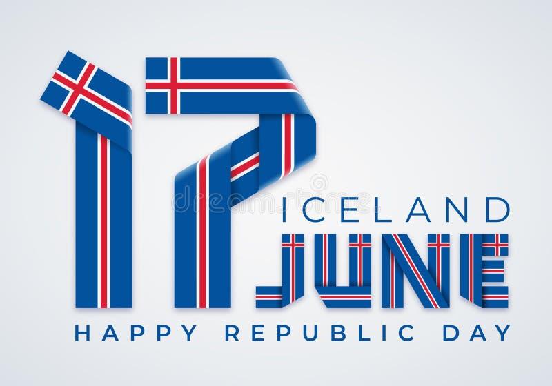 Czerwiec 17, republiki Iceland gratulacyjny projekt z Islandzkimi chorągwianymi elementami dzień r?wnie? zwr?ci? corel ilustracji ilustracja wektor
