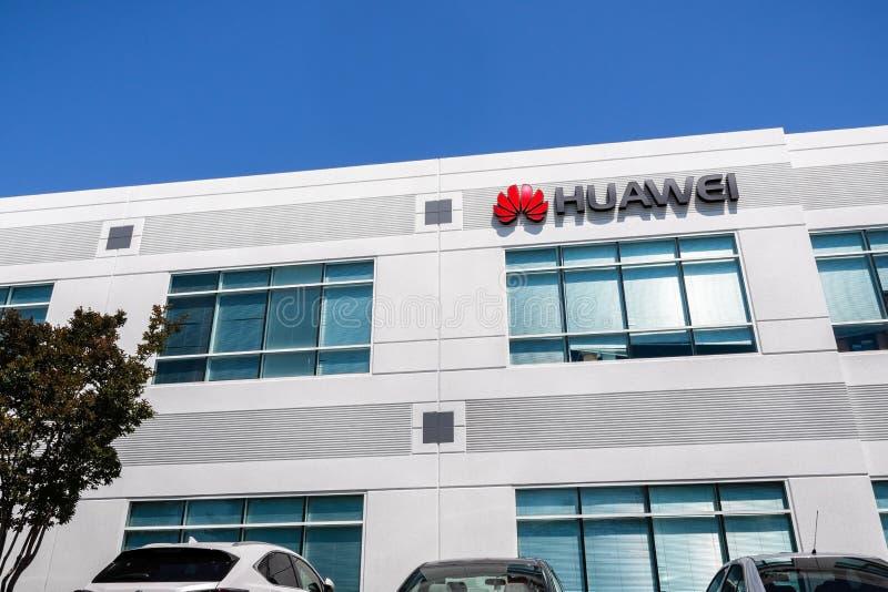 Czerwiec 3, 2019 Santa Clara, budynek biurowy w Krzemowa Dolina/CA, usa/- Huawei; Huawei jest Chi?skim technologii firm? to obrazy royalty free