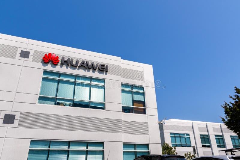 Czerwiec 3, 2019 Santa Clara, budynek biurowy w Krzemowa Dolina/CA, usa/- Huawei; Huawei jest Chi?skim technologii firm? to obraz royalty free