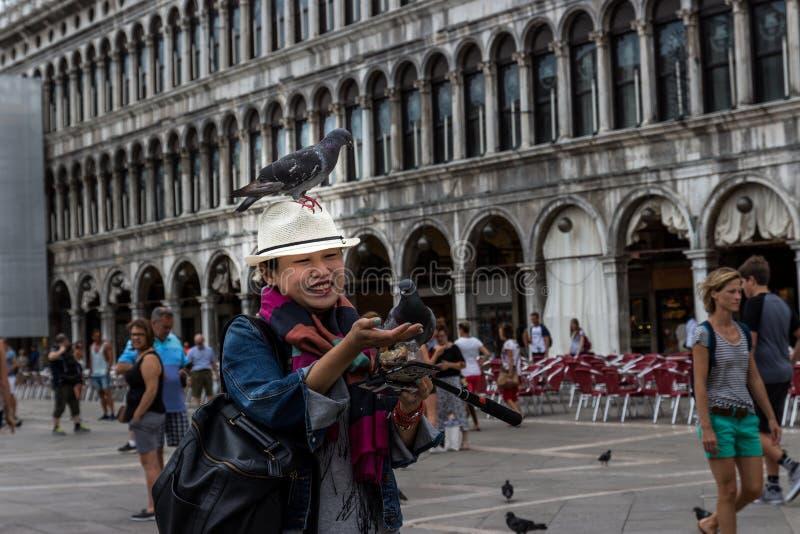 27 Czerwiec, St ocen kwadrat, Wenecja, Włochy: Niektóre gołębie siedzą na Japońskim kobiety ` s kapeluszu, to próbujący karmić on obraz royalty free