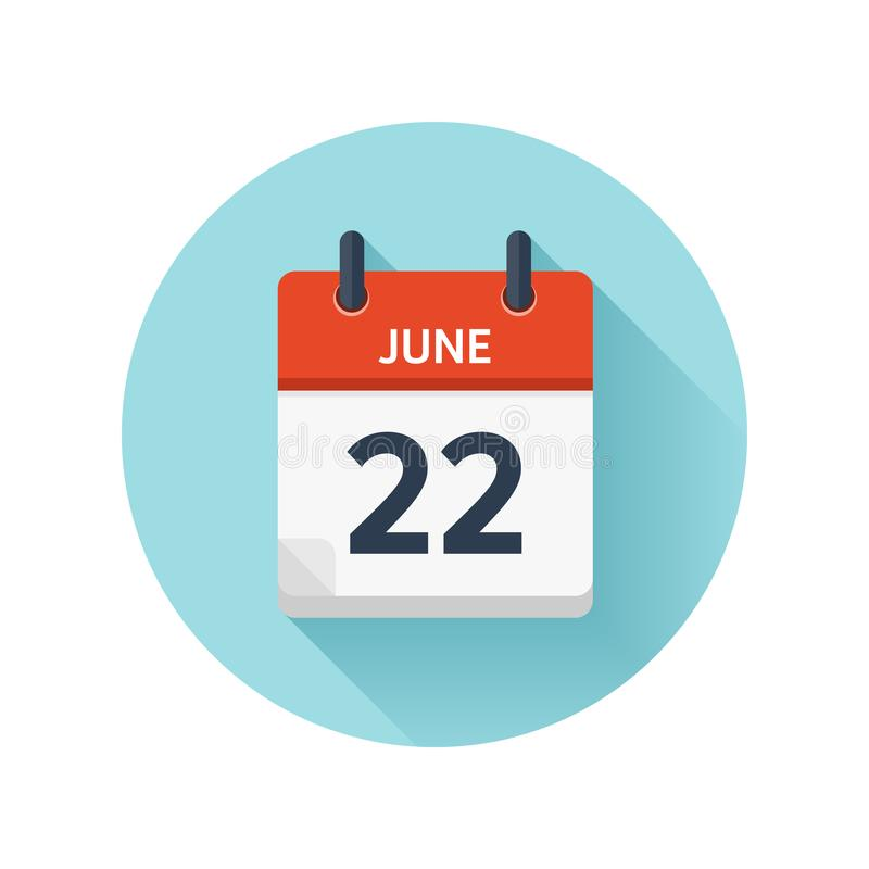 Czerwiec 22 Wektorowa płaska dziennego kalendarza ikona Daktylowy i czasie, dzień, miesiąc 2018 wakacje sezon royalty ilustracja