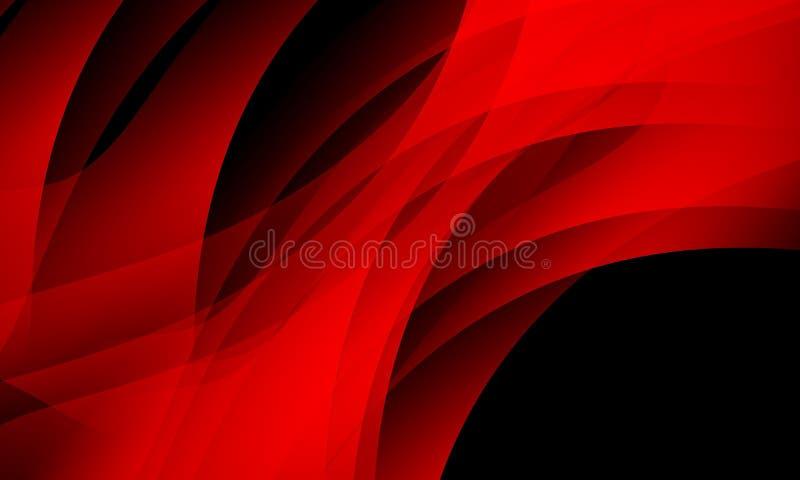 czerwieni i czerni falowy abstrakcjonistyczny tło, tapeta z oświetleniowym skutkiem, gładka, koszowa, wektorowa ilustracja, ilustracji