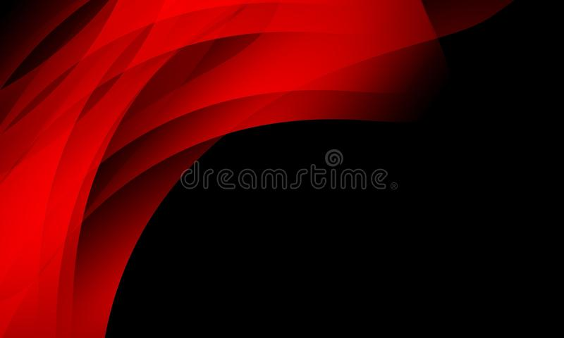 czerwieni i czerni falowy abstrakcjonistyczny tło, tapeta z oświetleniowym skutkiem, gładka, koszowa, wektorowa ilustracja, ilustracja wektor