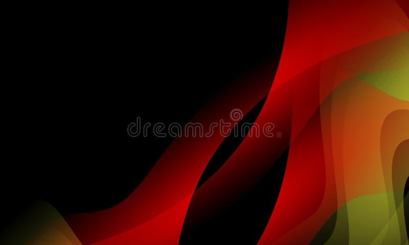 czerwieni i czerni falowy abstrakcjonistyczny tło, tapeta z oświetleniowym skutkiem, gładka, koszowa, wektorowa ilustracja, royalty ilustracja