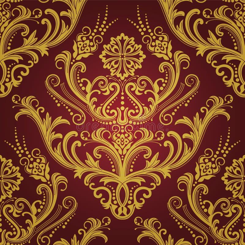 czerwieni kwiecista złocista luksusowa tapeta