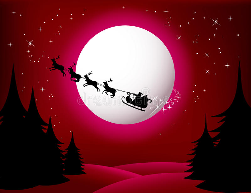 czerwieni s Santa sania wektoru wersja royalty ilustracja