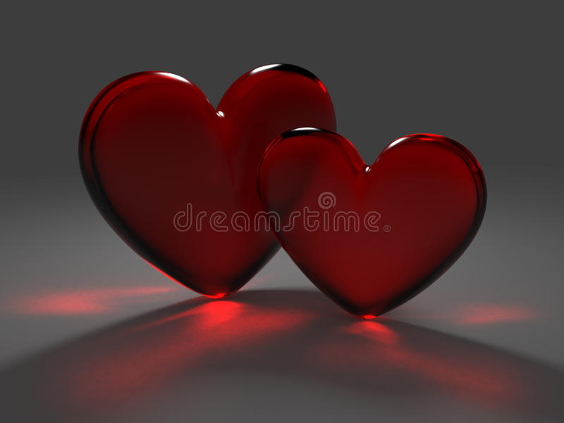 czerwieni szkła serc czerwień dwa ilustracji