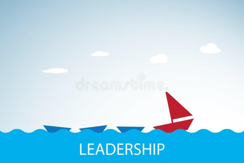 Czerwona łódź prowadzi błękitne łodzie, przywódctwo i biznesowego pojęcie, zdjęcie stock