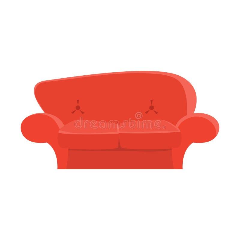 Czerwona ładna leżanka w kreskówka stylu Płaska wektorowa ilustracja EPS10 ilustracja wektor
