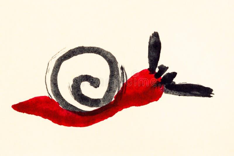 Czerwona ślimaczek ręka malująca na śmietance barwił papier royalty ilustracja