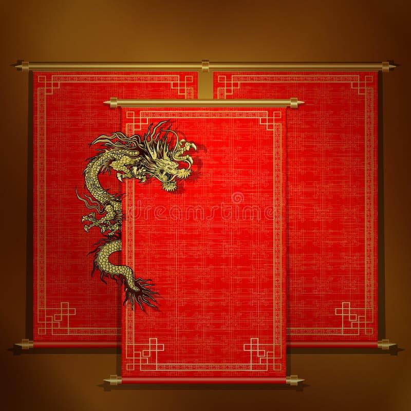 Czerwona ślimacznica z chińskim smokiem ilustracji