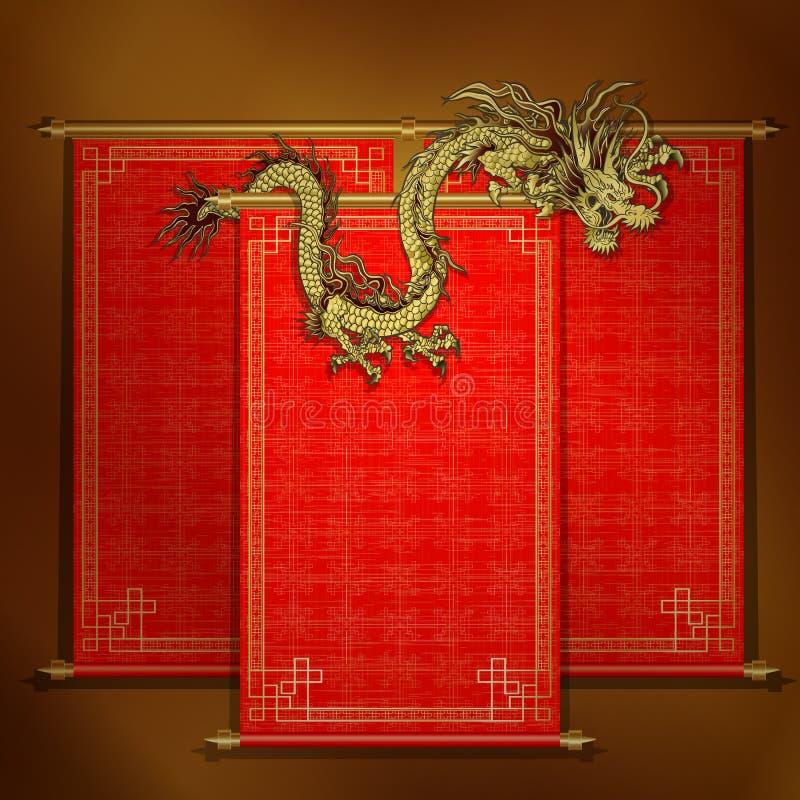 Czerwona ślimacznica z chińskim smokiem złotym royalty ilustracja