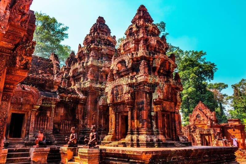 Czerwona świątynia, Siem przeprowadza żniwa, Kambodża obraz stock