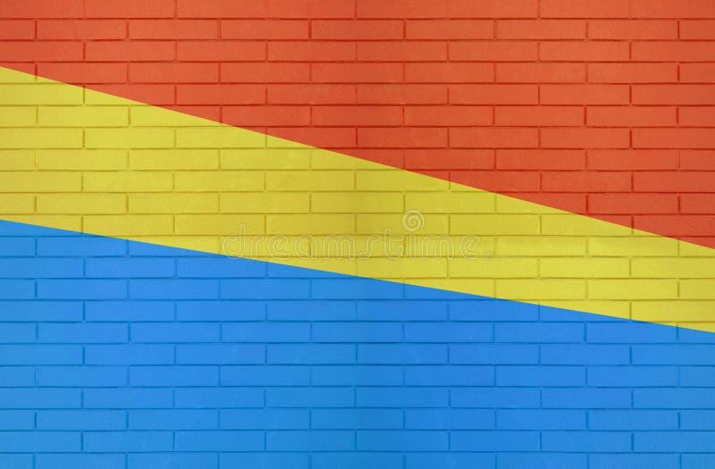 Czerwona żółta Błękitna kolor ściany z cegieł tekstura dla graficznych tło wizerunków obrazy stock