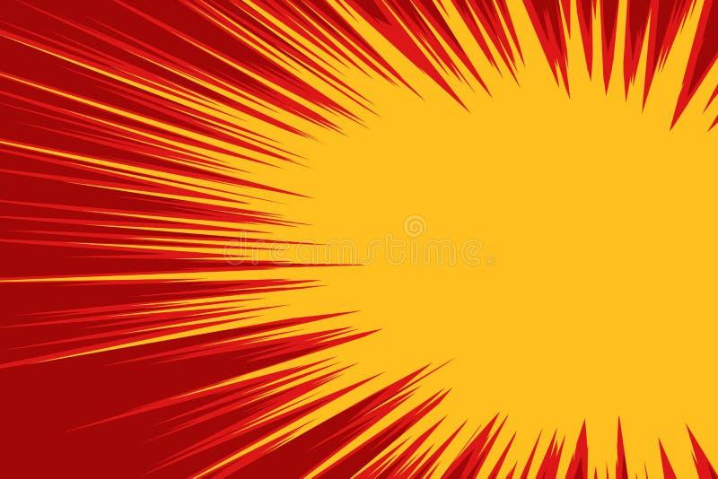 Czerwona żółta wybuch komiczka ilustracja wektor