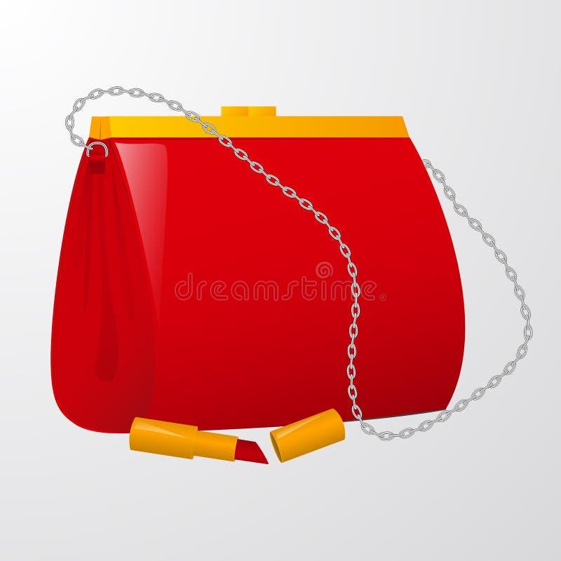 Czerwona żeńska torebka z pomadką ilustracja wektor