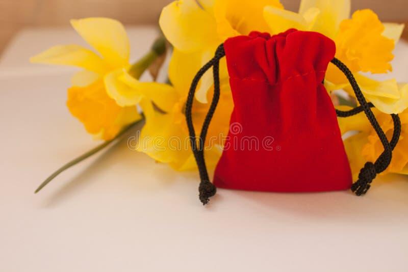 Czerwona aksamitna kieszonka z kolorem żółtym kwitnie na białym tle, kopii przestrzeń obraz stock