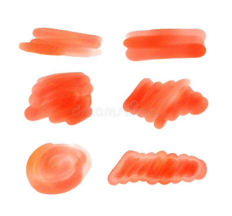 Czerwona akwarela malować plamy ilustracja wektor