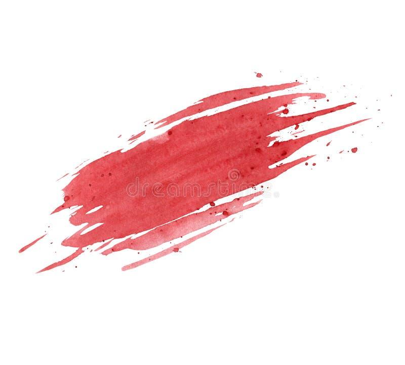 Czerwona akwareli smudge tekstura z pluśnięciami odizolowywającymi na białym tle grunge projektu royalty ilustracja