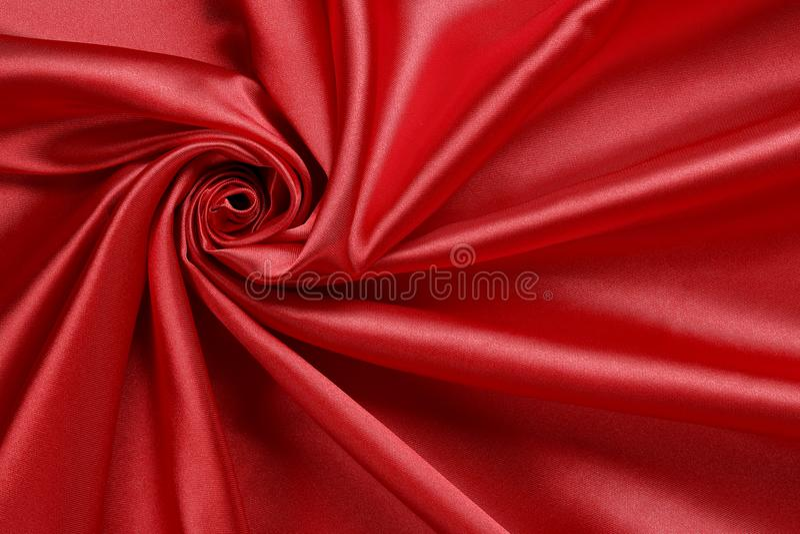 Czerwona atłasowa tkanina obraz royalty free