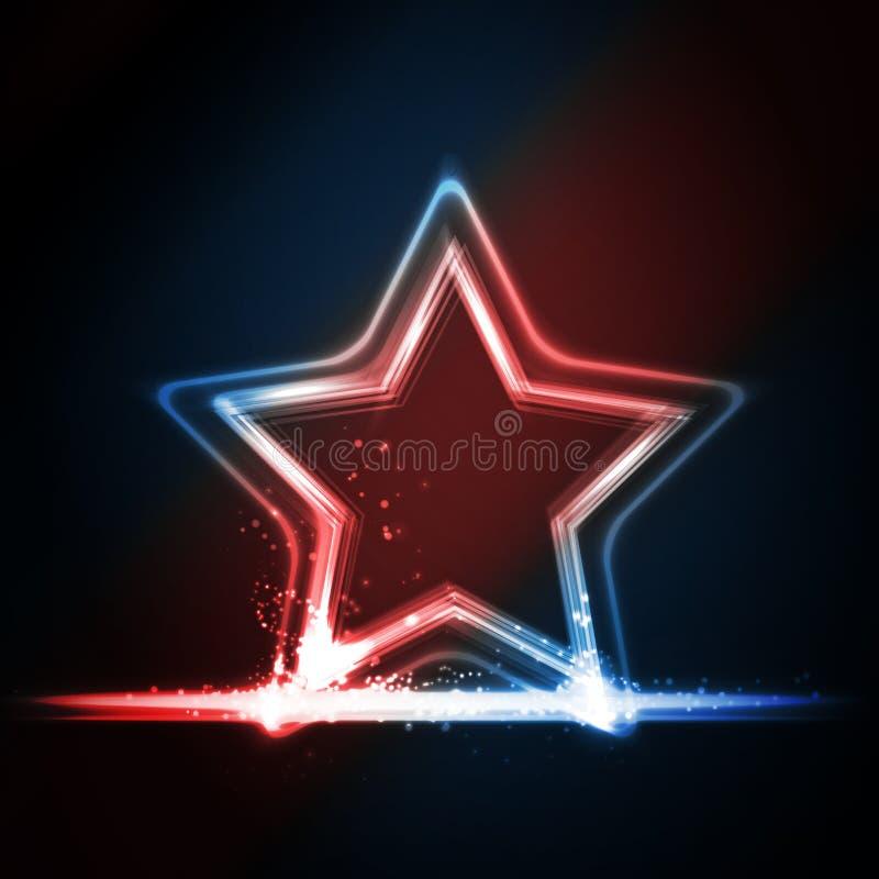 Czerwona błękitna biała rozjarzona rama kształtująca jako gwiazda ilustracji