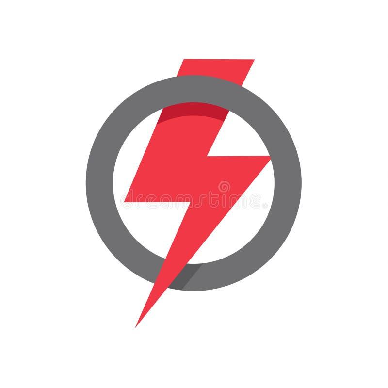 Czerwona błyskawicowa ikona w okręgu kształcie, władza, siła, wygrana symbol na białym tle ilustracji