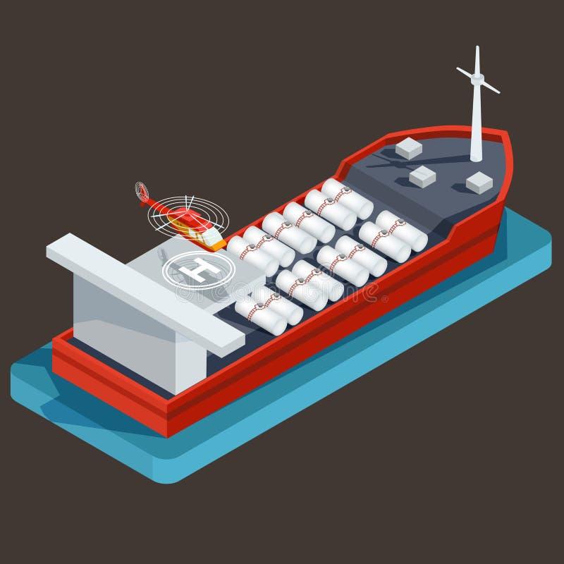 Czerwona barka z baryłką dla transportu olej, ropa naftowa royalty ilustracja