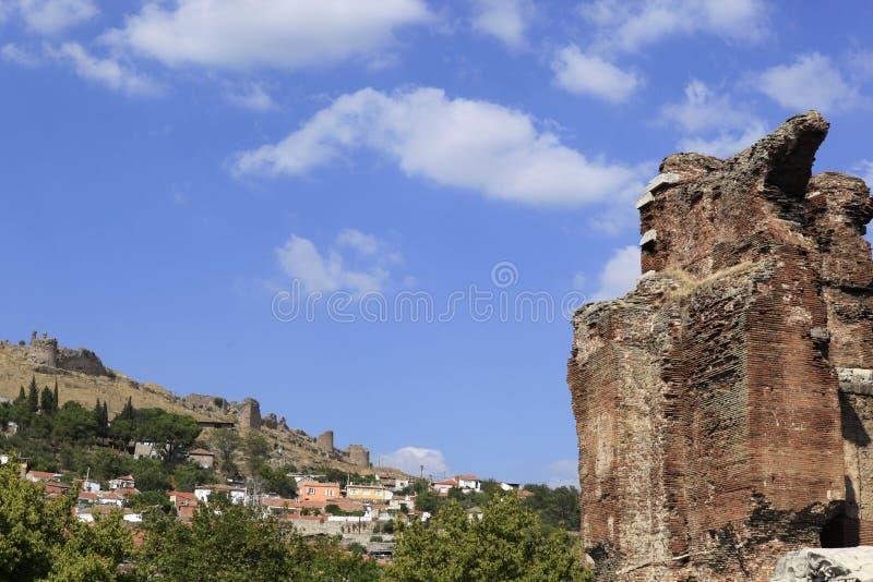 Czerwona Bazylika w Starożytnego Grka Mieście Pergamon obrazy royalty free