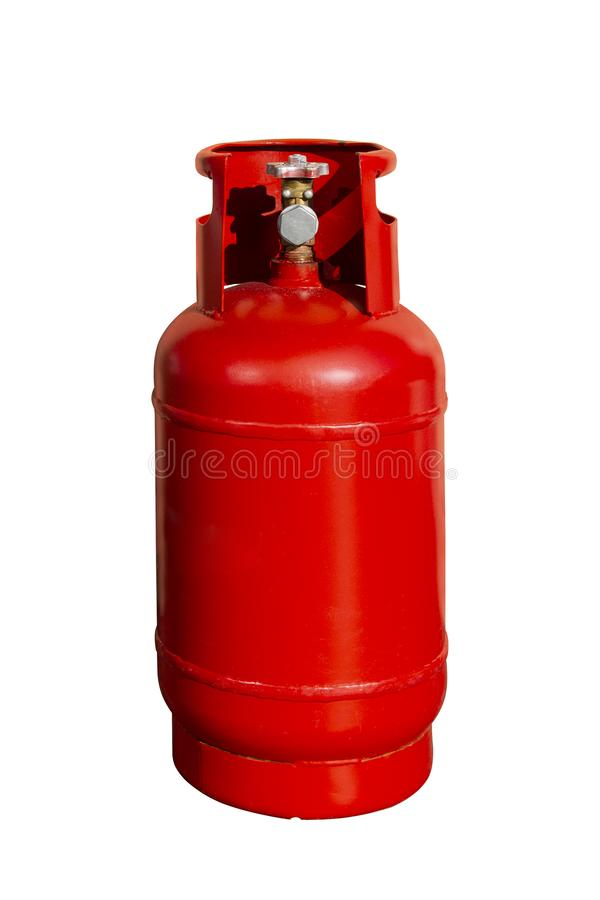 Czerwona benzynowa butelka, LPG butla odizolowywająca na białym tle zdjęcia royalty free
