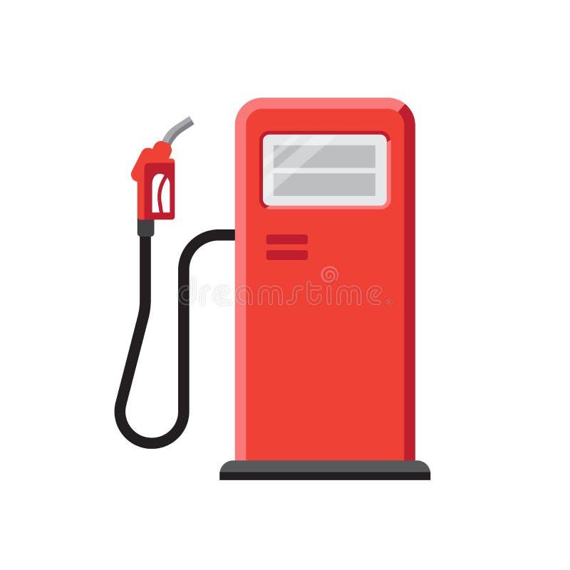 Czerwona benzynowa stacja z dystrybutoru paliwowa wektoru ilustracją royalty ilustracja
