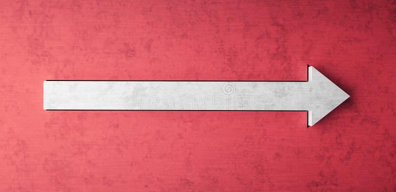 Czerwona betonowa ściana z strzałkowatym znakiem 3d odpłaca się royalty ilustracja