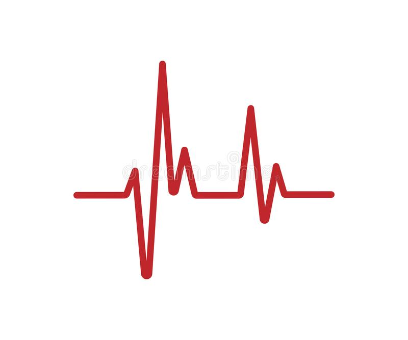 Czerwona bicie serca linia odizolowywająca na białym tle Bicie serca ikona ilustracja wektor