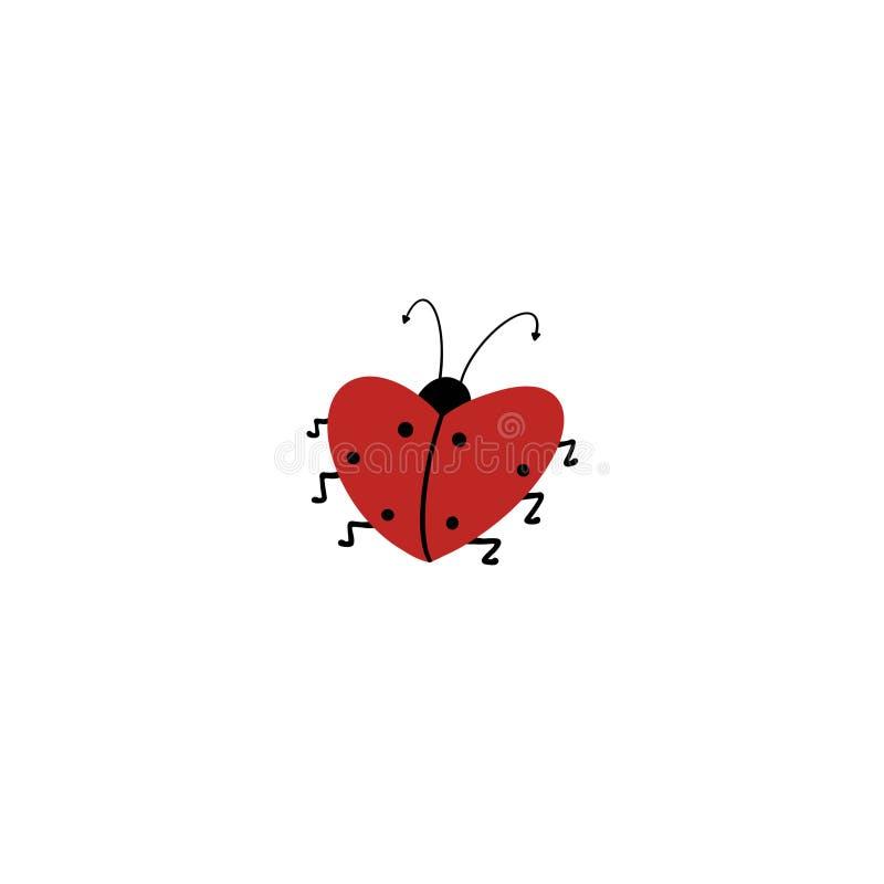Czerwona biedronka w formie serca na białym tle Odosobniony przedmiot royalty ilustracja